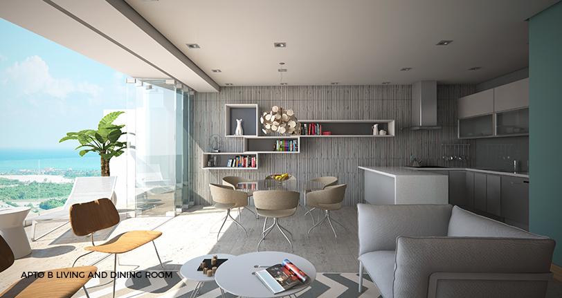 7Mares apartamento B living and dining room with views en cap cana