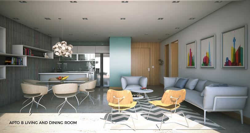 7Mares apartamento B living and dining room en cap cana