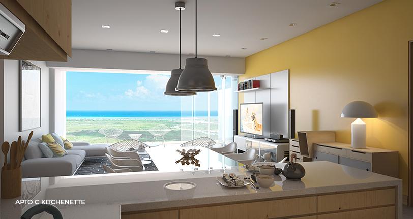 7Mares apartamento C kitchenette en cap cana