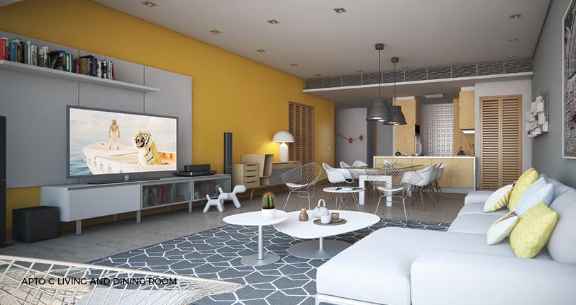 7Mares apartamento C living and dining room en cap cana