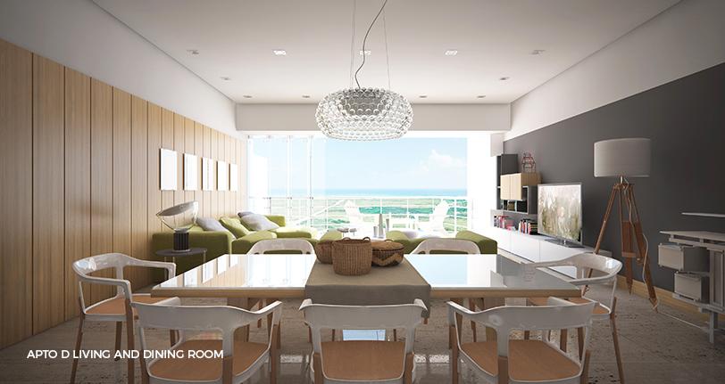 7Mares apartamento D living and dining room en cap cana