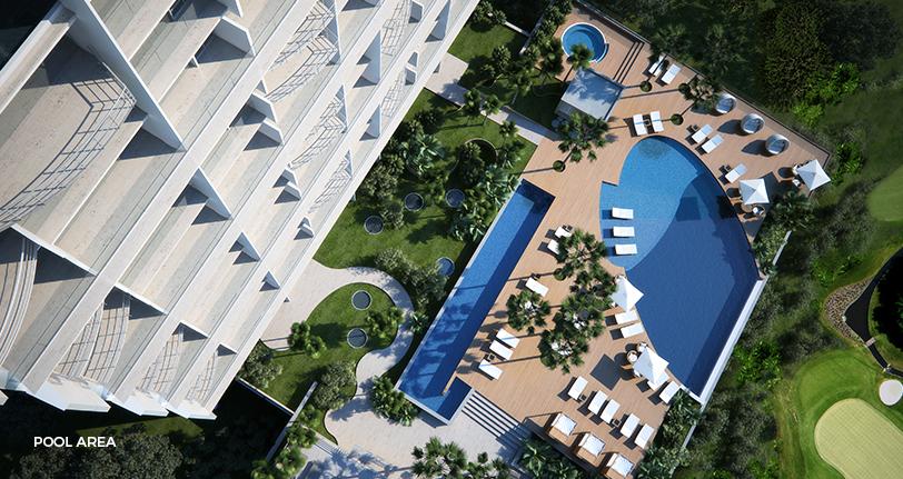 7Mares apartamentos pool area and common areas at cap cana