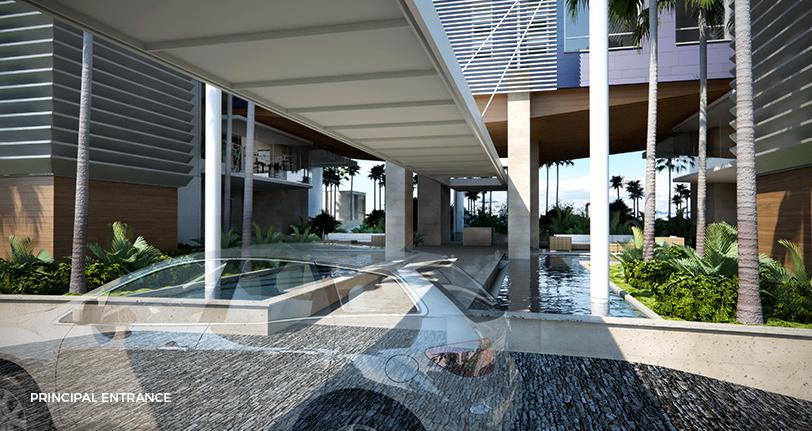 7Mares apartamentos principal entrance at cap cana